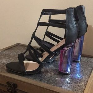 Galactic heel black strappy sandals heels